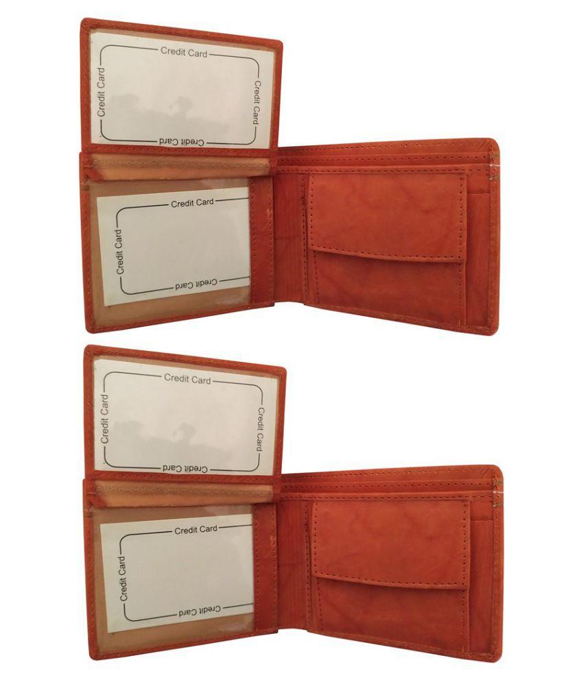 EBEZA Leather Tan Formal Anti-theft Wallet