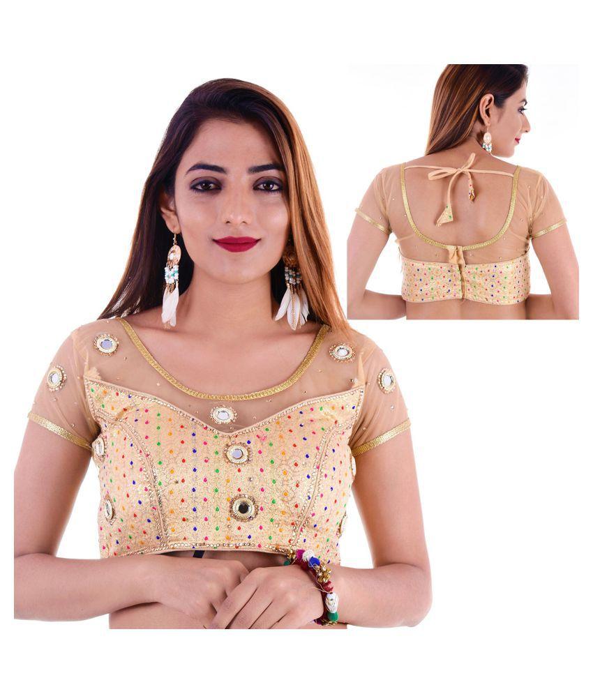 ADABHUT Gold Silk Readymade with Pad Blouse