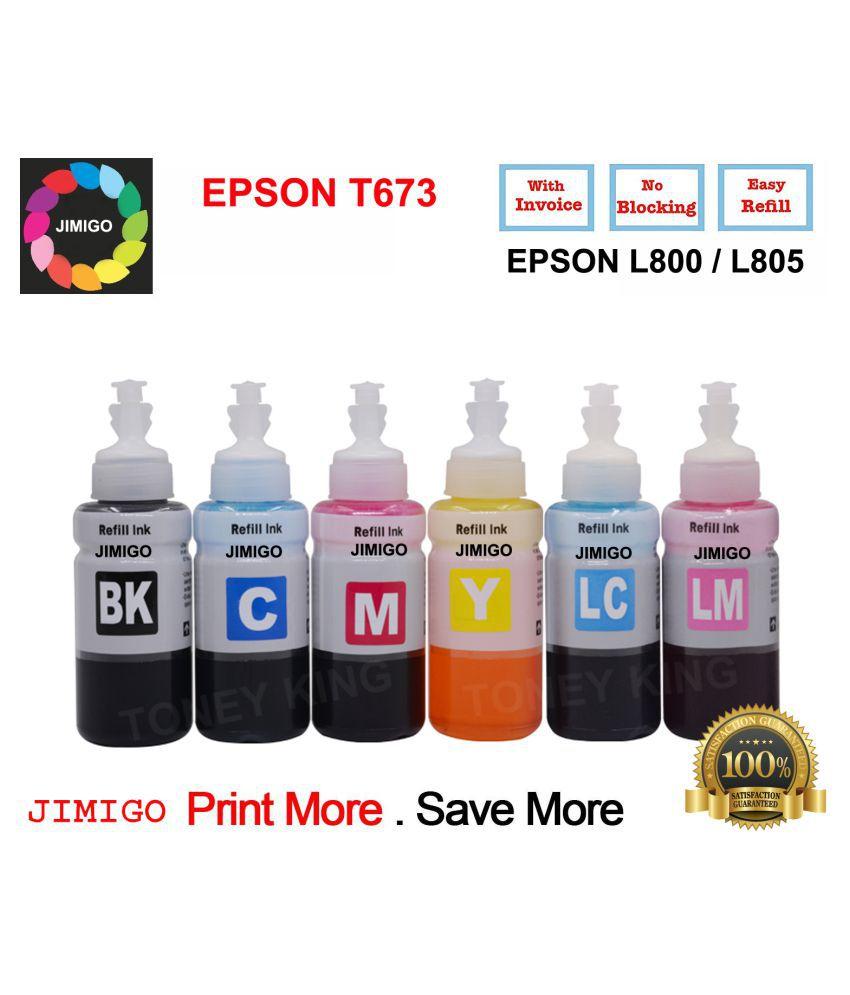 JIMIGO EPSON L800 Multicolor Pack of 6 Ink bottle for Epson T673 / L800/ L805/ L810/ L850/ L1800