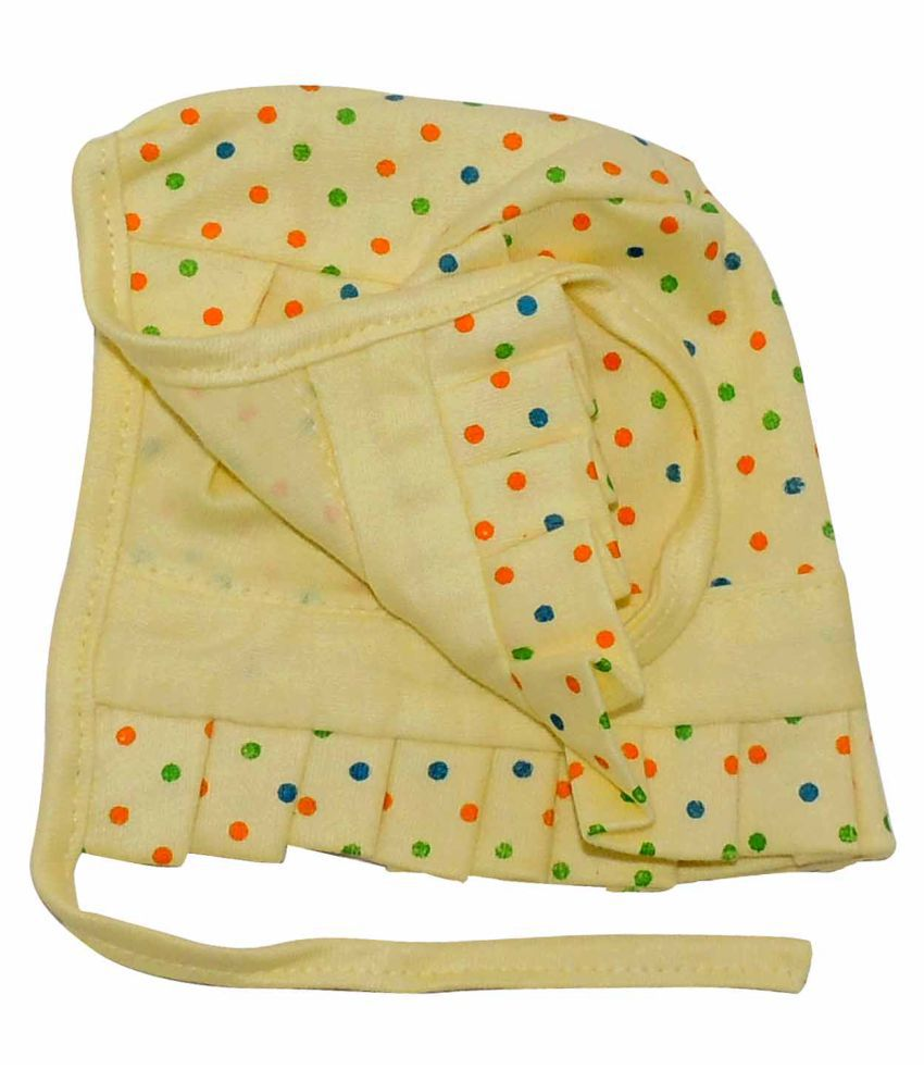 Life Begin with Satyamani Baby Deluxe Cap Dots Small (0 to 3 months) (Pack of 3)