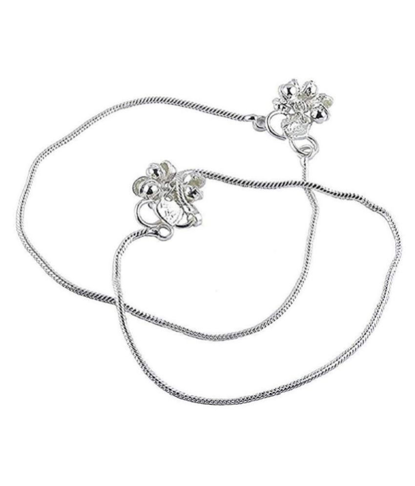 Anklets (Payal) 925-Silver Plain Desent Style For Women & Girls