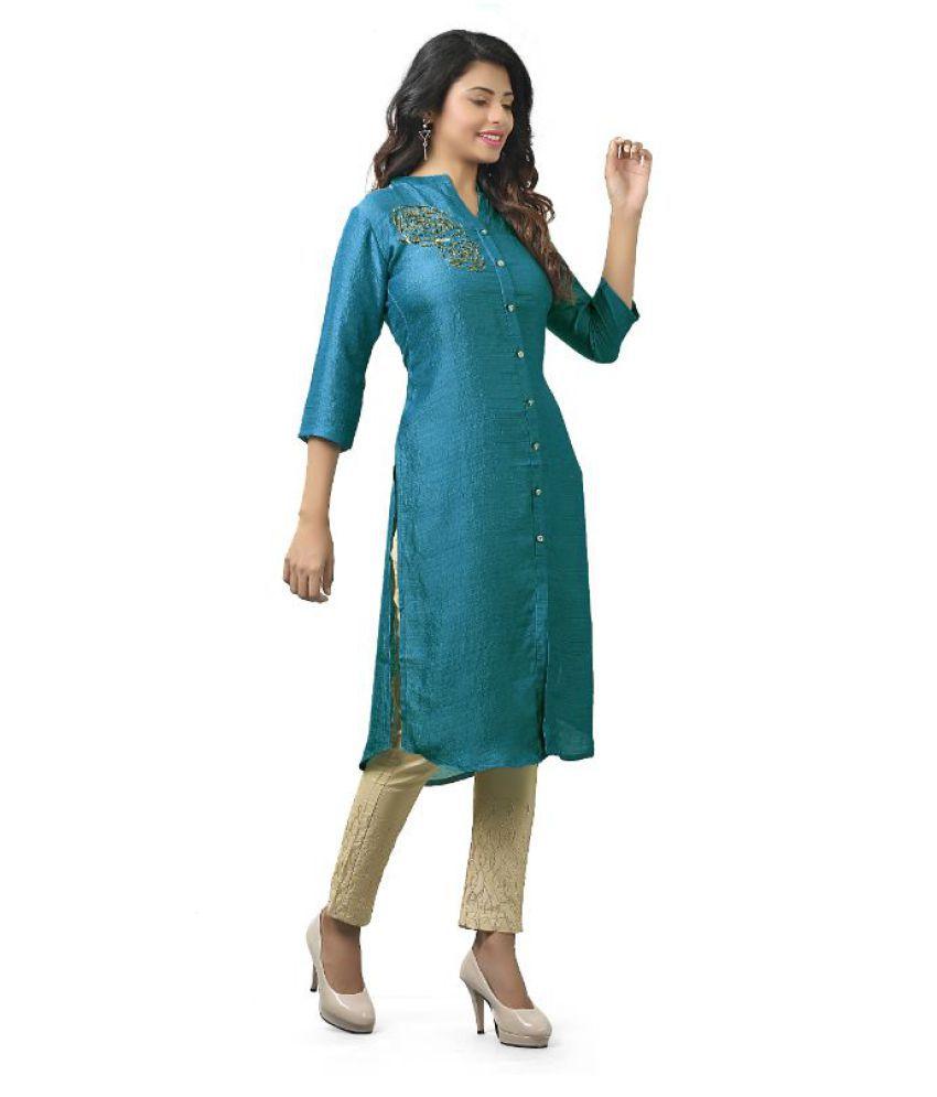 ETHNICUT Green Meghalaya Silk Straight Kurti