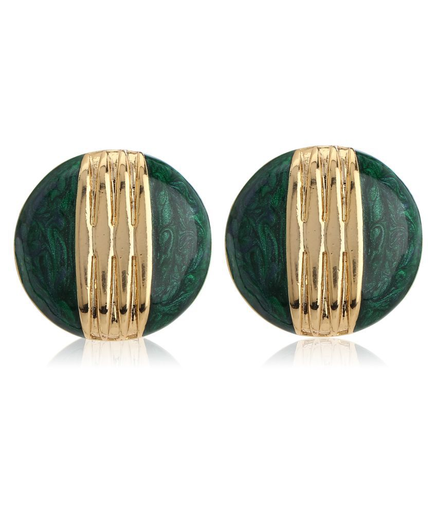 Estele 24Kt Gold Plated Round Green Enamel Stud Earrings