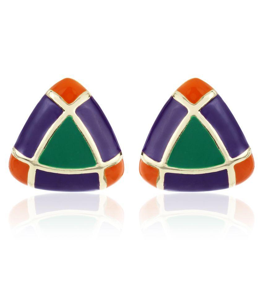 Estele - Gold Plated fancy earrings with multicolor enamel Triangle shaped Studs