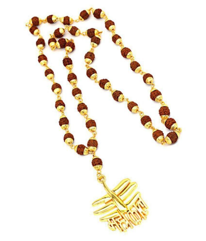 5 Faced Rudraksha Golden Cap Mala with Mahakaal Locket