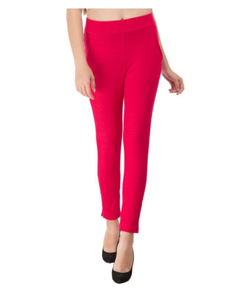 Priya Point Cotton Jeggings - Pink