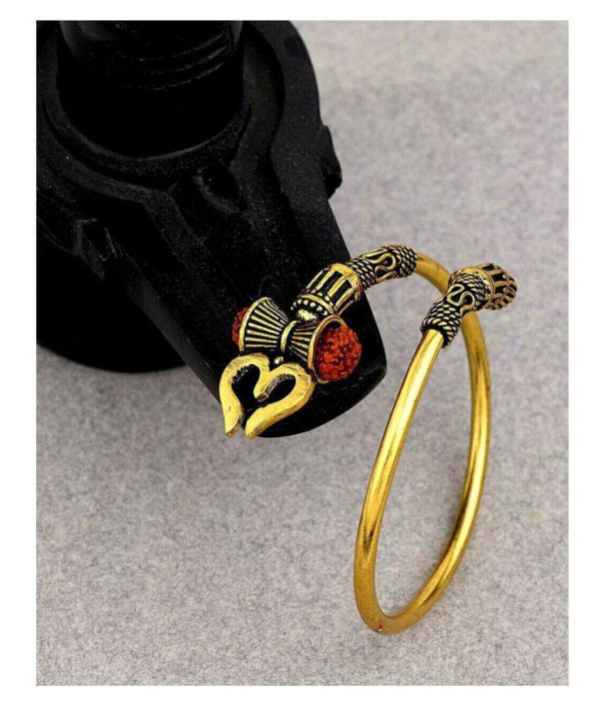 Rudraksha Shiv Trishul Damroo Designer kada Bracelet Bangle for Women and Men (Flexible)