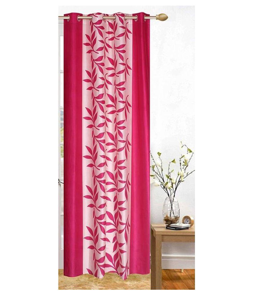 Handloom Hub Single Door Eyelet Polyester Curtains Pink