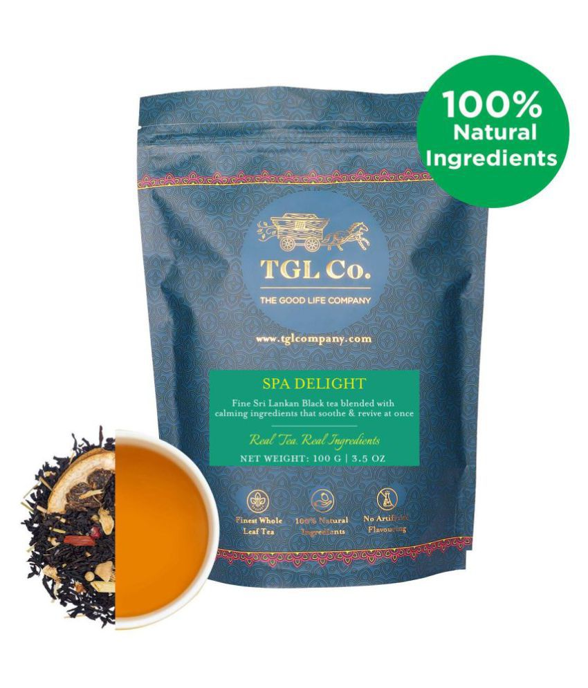 TGL Spa Delight Black Tea (100 Gram) with Lemon Slices, Lemon Grass, Ginger, White Peppercorns