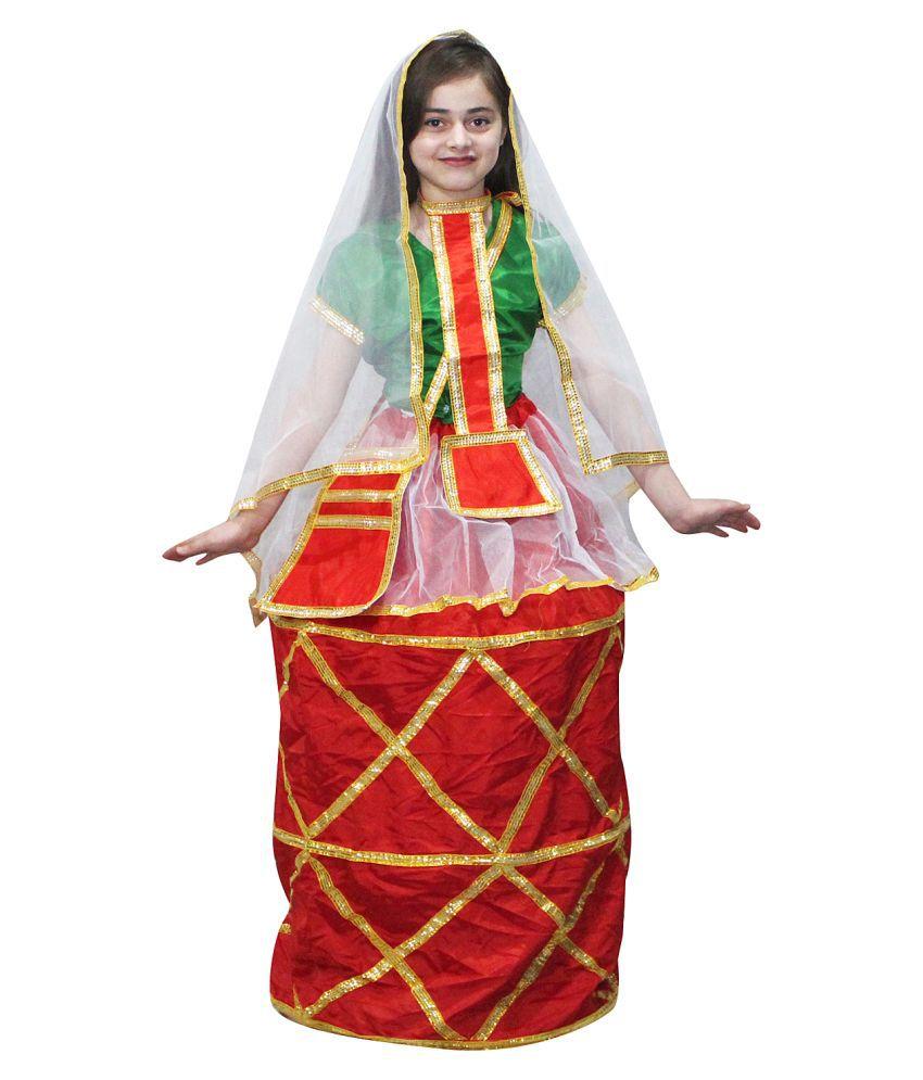 Kaku Fancy Dresses Indian State Manipuri Folk Dance Costume for Girls - Red  & Green, 6-6 Years