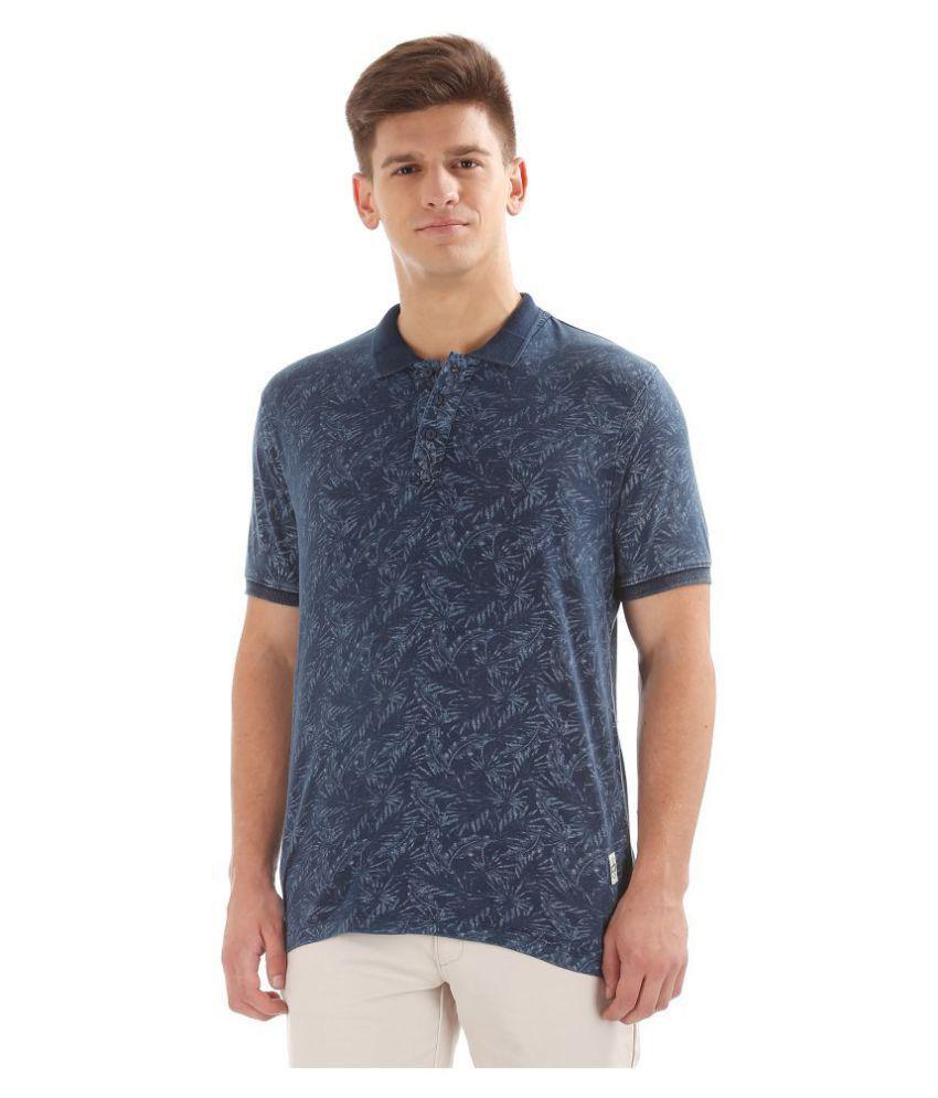 Cherokee 100 Percent Cotton Blue Printed T-Shirt