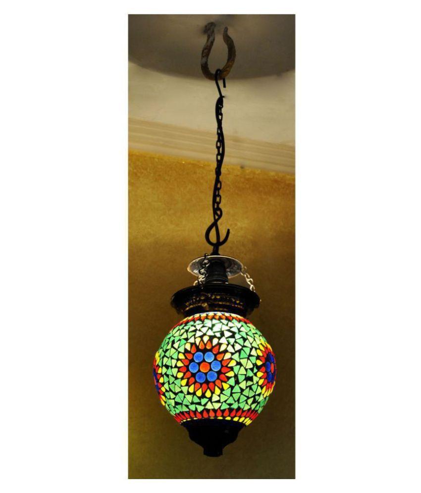 Lal Haveli Glass Decorative Hanging Lantern Ceiling Lamp Pendant Multi - Pack of 1