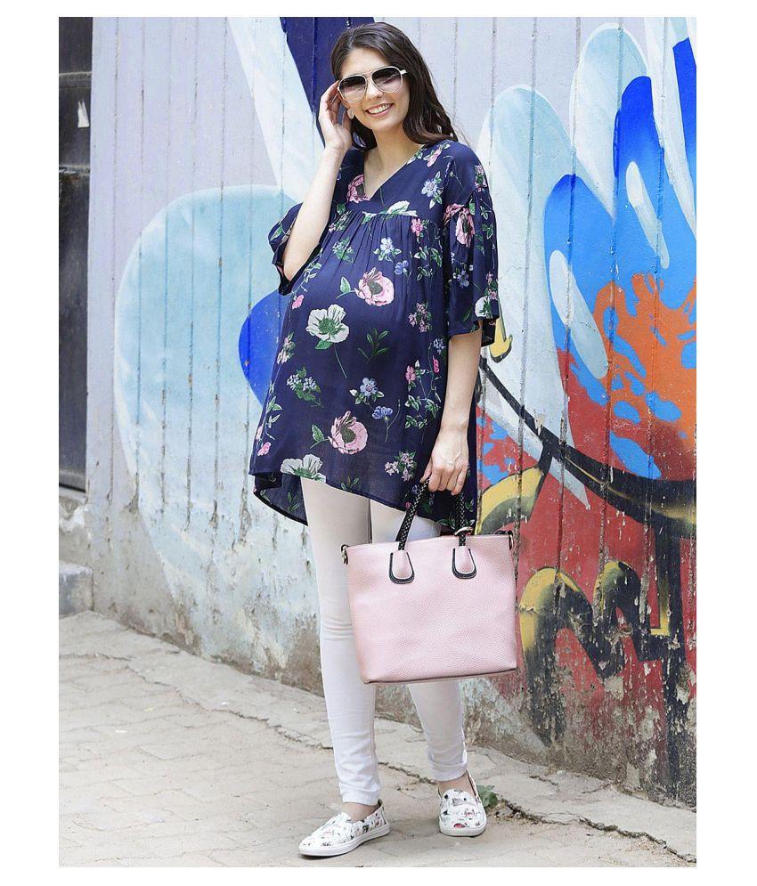 Mine4nine Navy Rayon Maternity Tops