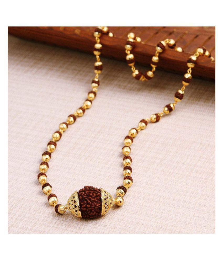 Minprice original Rudraksha Mala with Big Rudraksha Pendand in Gold Plated Cap