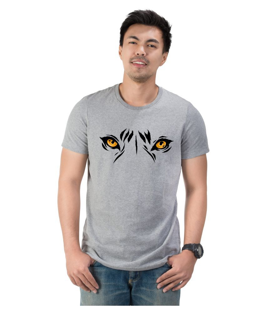 letstry Fashion 100 Percent Cotton Grey Printed T-Shirt
