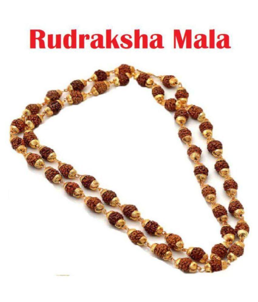 Green Spiritual 5 Mukhi Rudraksha/Rudraksh Mala With Gold Plated Cap - Pack of 1 (8MM 36Beads)