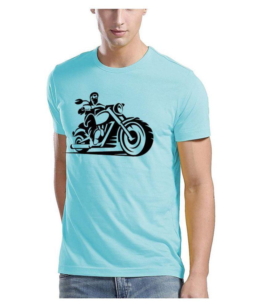 QAMASH Polyester Cotton Blue Printed T-Shirt