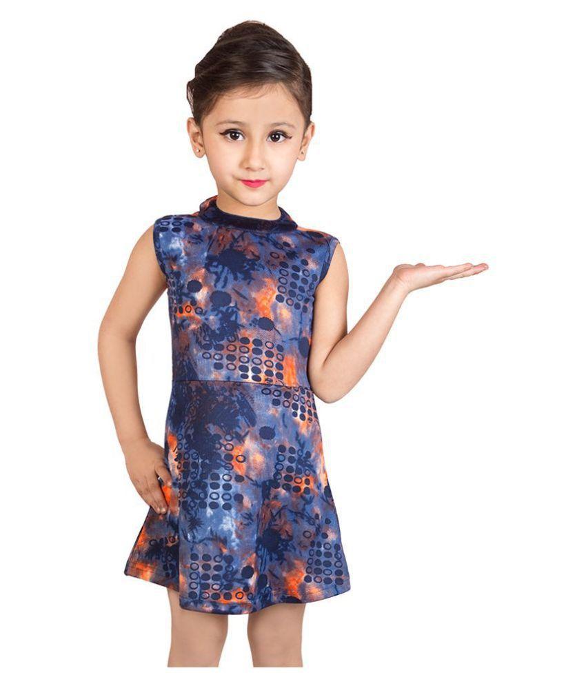 Addyvero Girls Knee Length Printed Party Dress