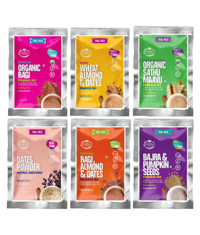 Early Foods Trial Packs - Organic & Fresh Porridges Infant Cereal for 12 Months + ( 300 gm ) Pack of 6