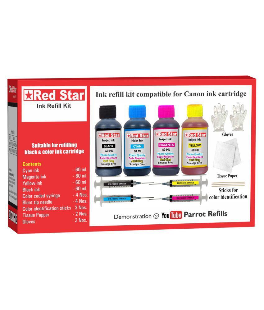 RED STAR INK REFILL KIT Multicolor Four bottles Refill Kit for Canon Pixma inkjet printerPG black  amp; CL color ink cartridge