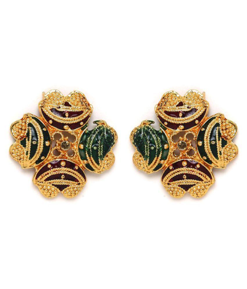 ZeroKaata Golden Ethnic Stud Earrings with Multicolored Designer Motifs