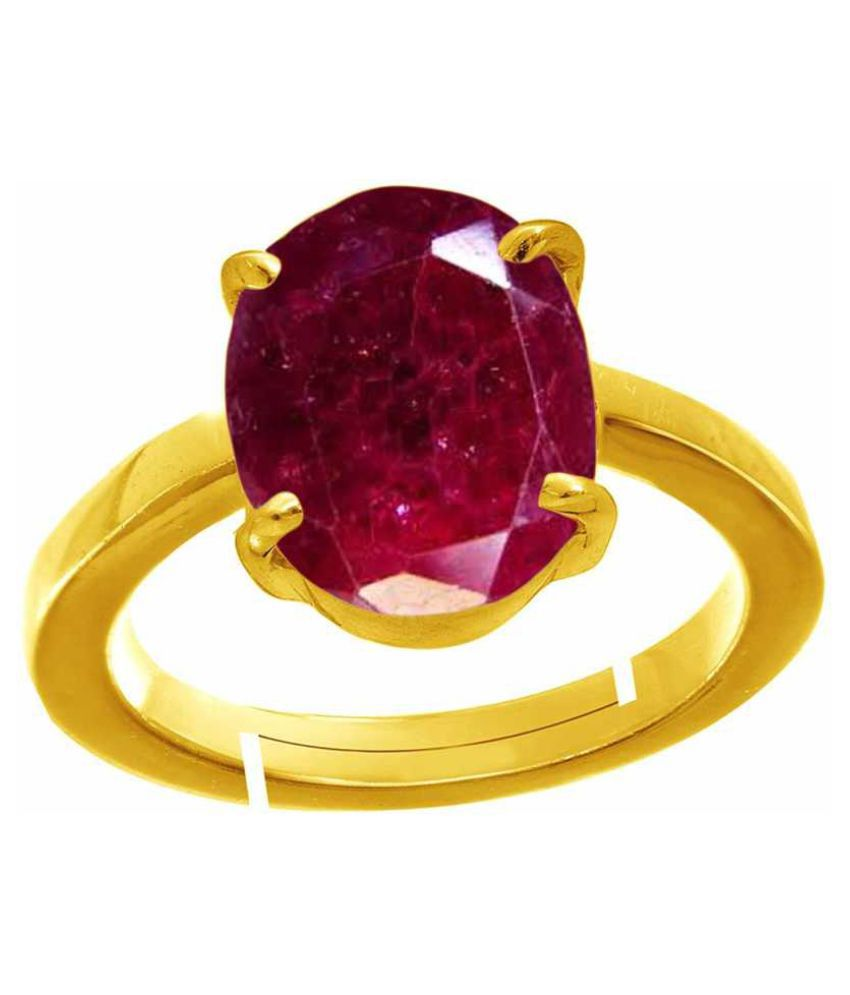 11.25 Carat Certified Natural Red Ruby Ring July Birthstone Original Manak Oval Cut Faceted Gemstone Manik Gold Plated Adjustable Ring Size 16-24 for Unisex