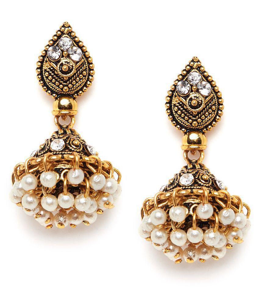 ZeroKaata Short Golden Ethnic Jhumkas With Pearls and Silver Stones