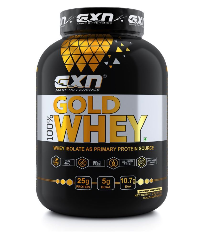 GXN Gold 100% Whey Protein 4.4 lbs, Banana Smoothie 2 kg