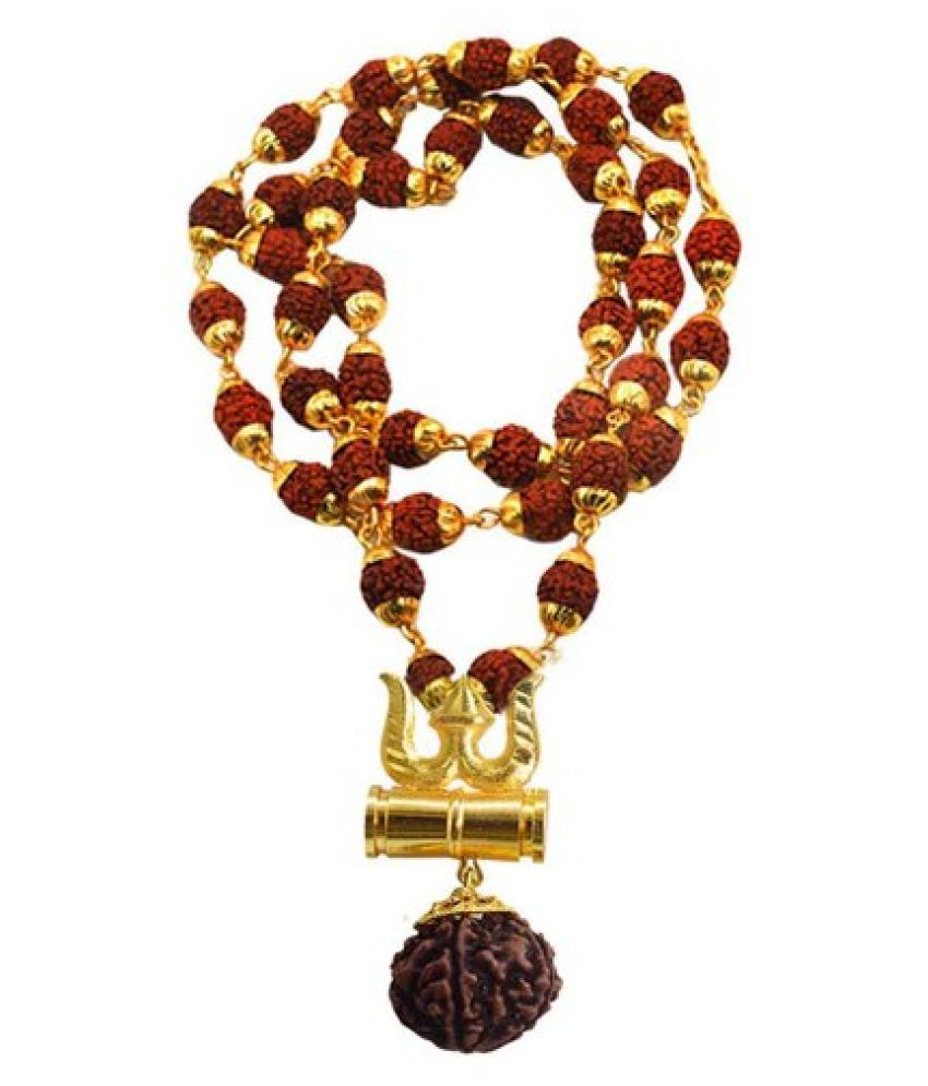 Rudraksha Golden Cap Mala With Damru Locket, , 100% Original and Very Rare Collection