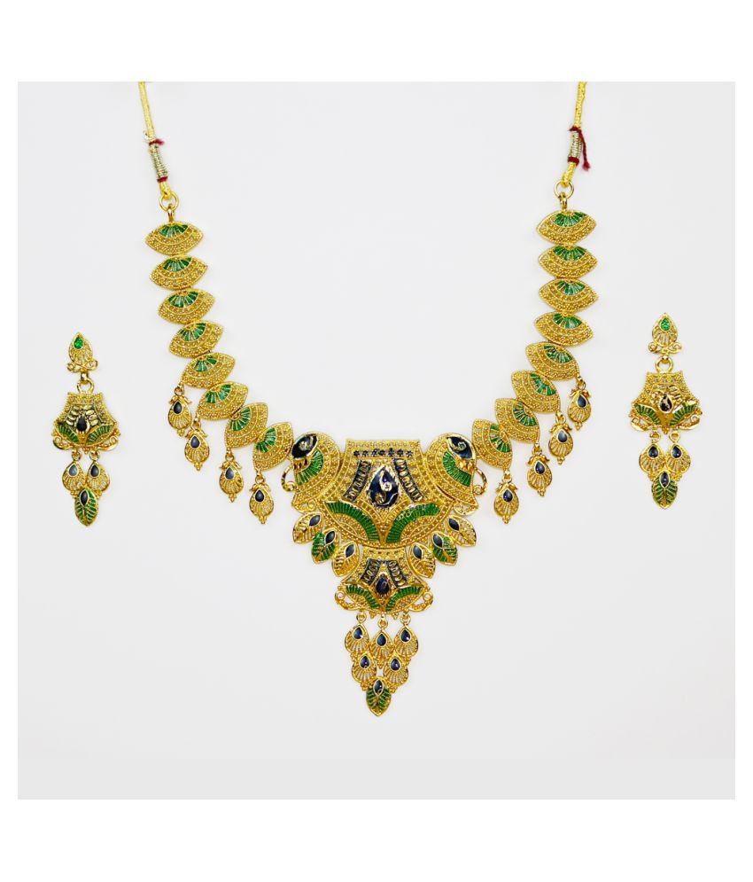 Abhiroopa Golden Princess Traditional None Necklaces Set