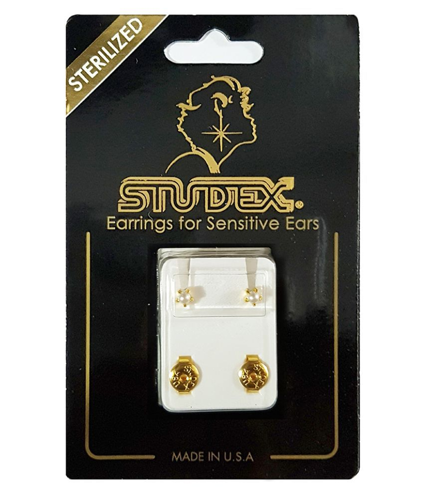 Studex Select Card 3MM Regular Gold Plated Tiffany Pearl Ear Studs