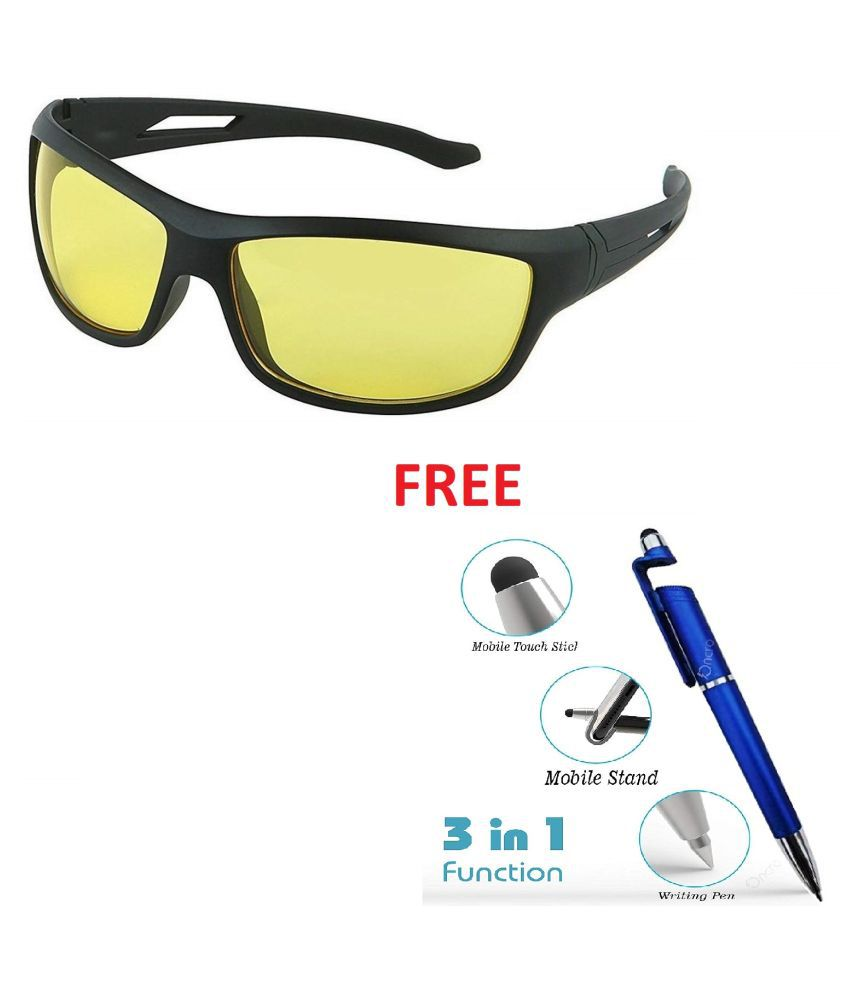 Day Vision & Night Vision Sports Unisex Sunglasses (BLACK YELLOW NIGHT VISION) Set of 1 With Free 3 In 1 Wipe Pen