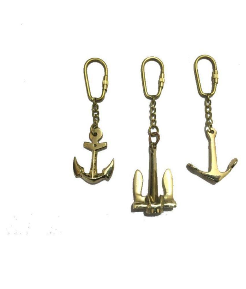 Nautical Brass Anchor Keychain-Set of 3