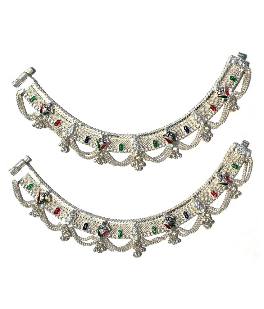 R K JEWELLERS- Pure Silver Traditional Design Payal or Anklet 9 inches