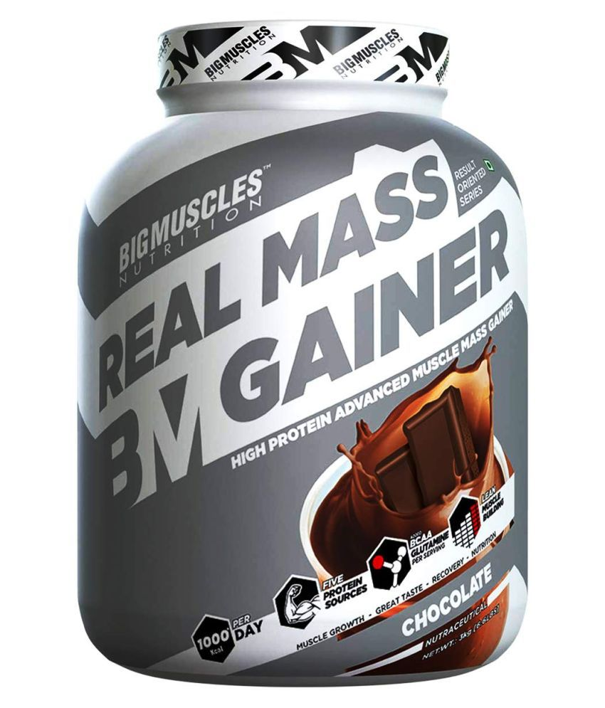 BIGMUSCLES NUTRITION Real Mass Gainer 3 kg Mass Gainer Powder
