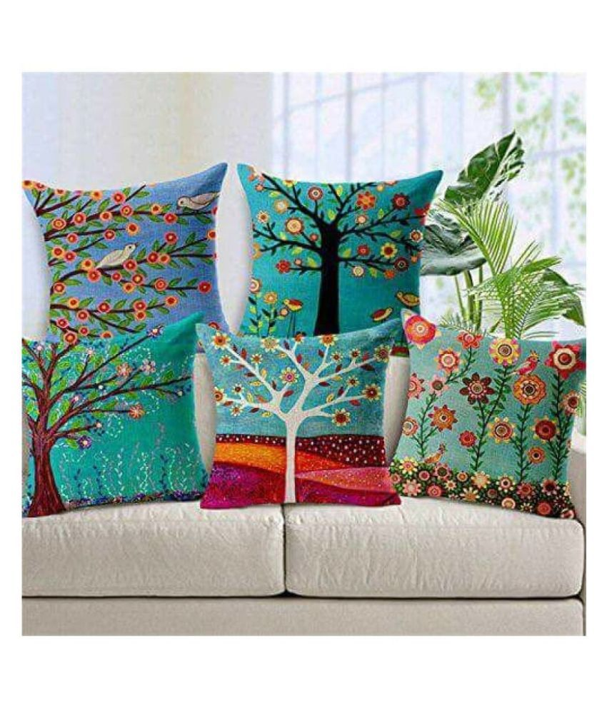 Home Style Set of 5 Cushion Covers Floral Themed