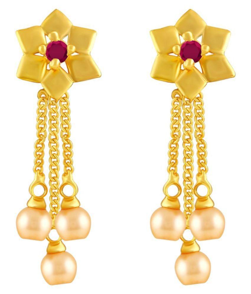 MFJ Fashion Jewellery Wavy Brass Gold Plated Dangle Earring For Women