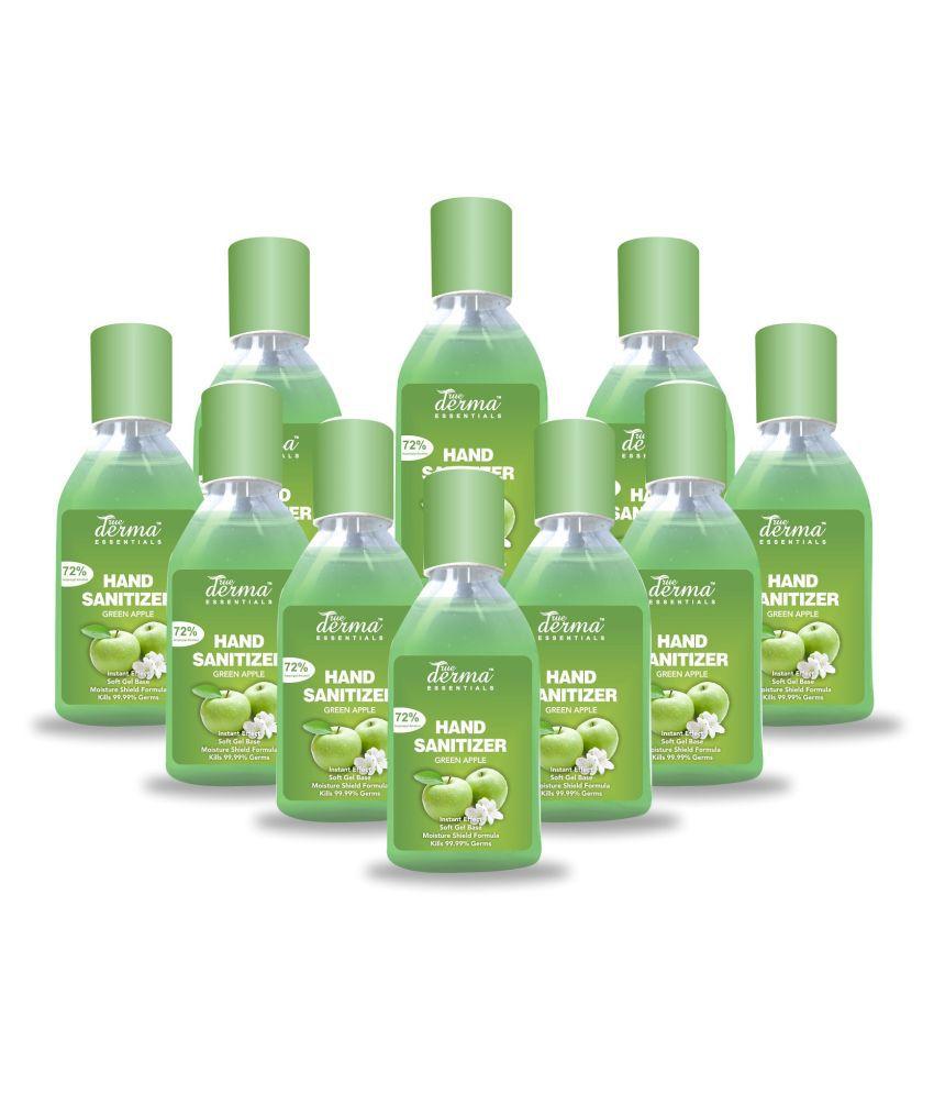 TRUE DERMA ESSENTIALS Green Apple, Instant Dry 72% IPA Hand Sanitizer 60 mL Pack of 10