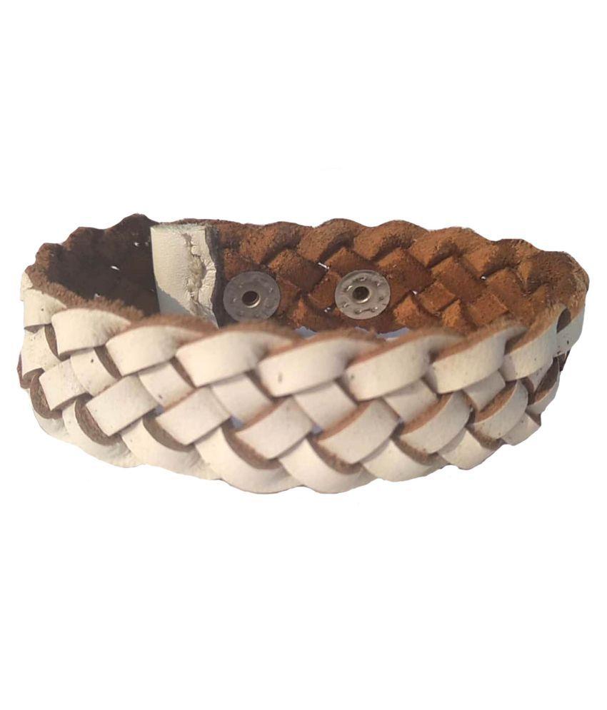 Leather bracelet for girls white
