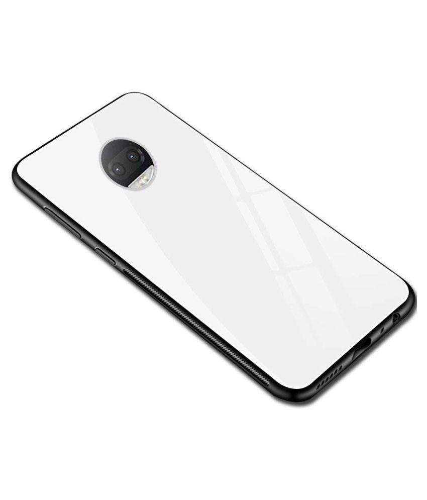 Motorola Moto G5s Plus Glass Cover Vikefon   White TPU Bumper Back Case