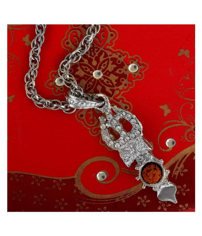 PAYSTORE Silver plated CZ studded Mahadev Shiva symbols Trishul, Damru & Rudraksh, All in one Pendant for Men and Women