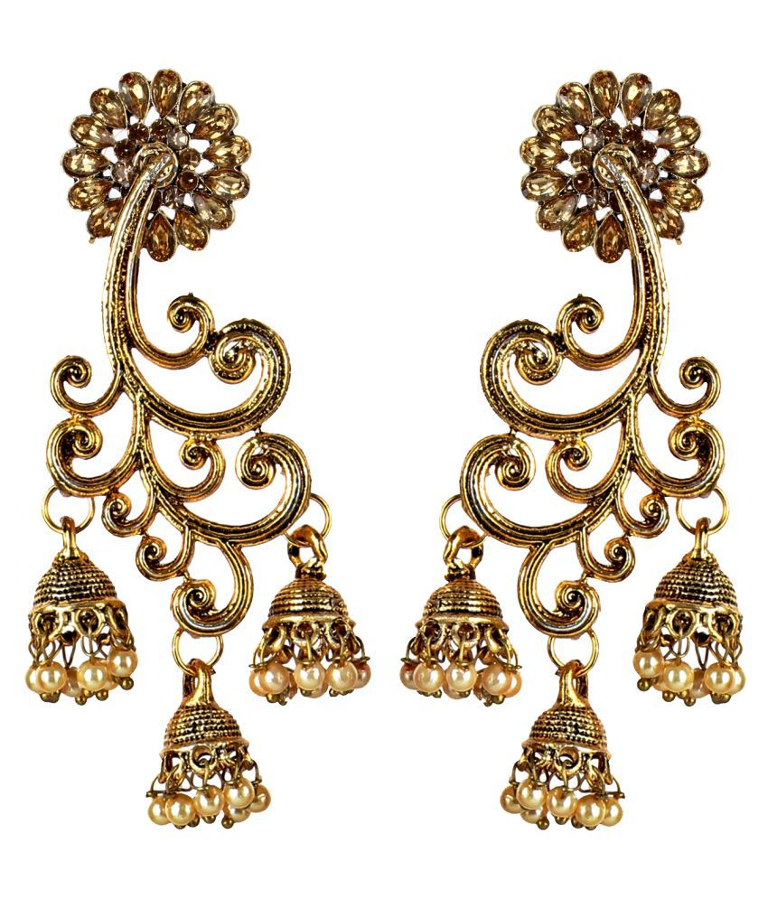 Lucky Jewellery Designer Gold Plating Jewelry Fancy Gold Color Partywear Jhumki Earring For Girls & Women (175-WES-211-LCT)