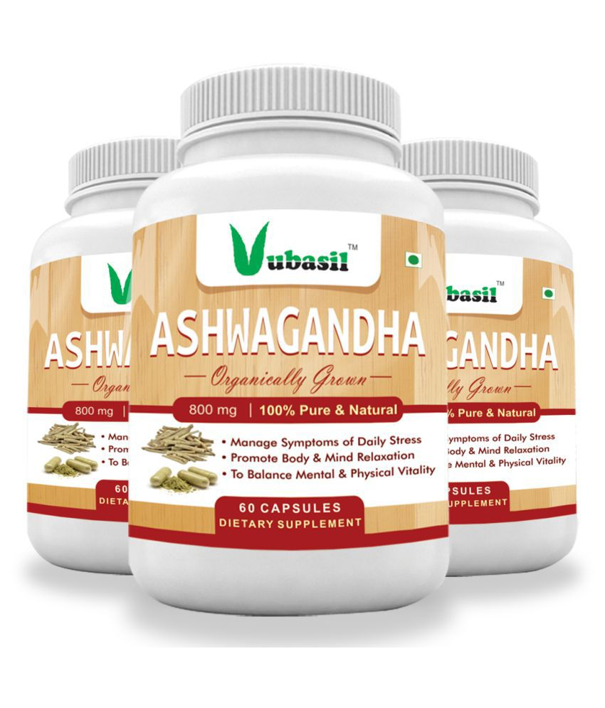 VUBASIL Herbal Ashwagandha for General Wellness Capsule 180 no.s Pack of 3