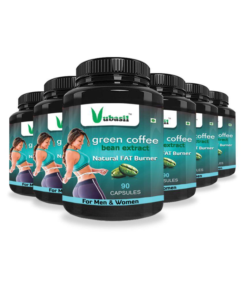 VUBASIL Herbal Green Coffee Extract Fat Burner Capsule 540 no.s Pack Of 6