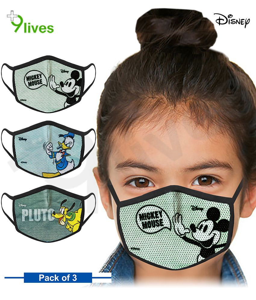 9lives Disney 3 layer Protective Skin Friendly Kids Mask set ( 2-7 Yr, Pack of 3)