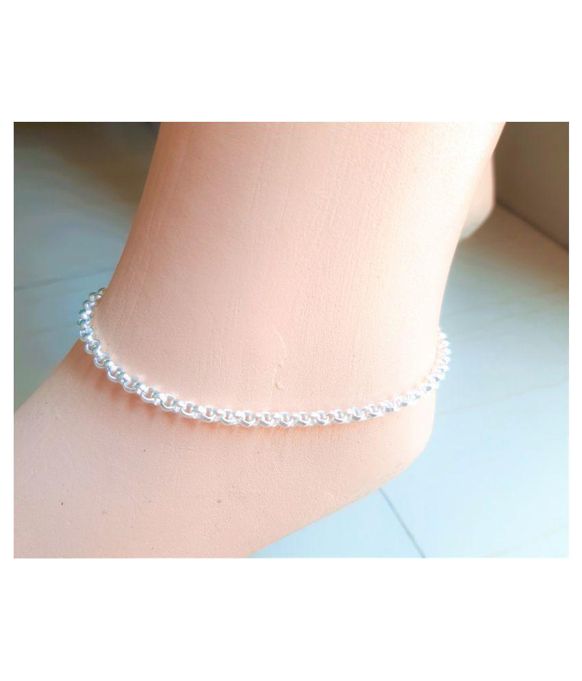 Elegant White Metal Anklets