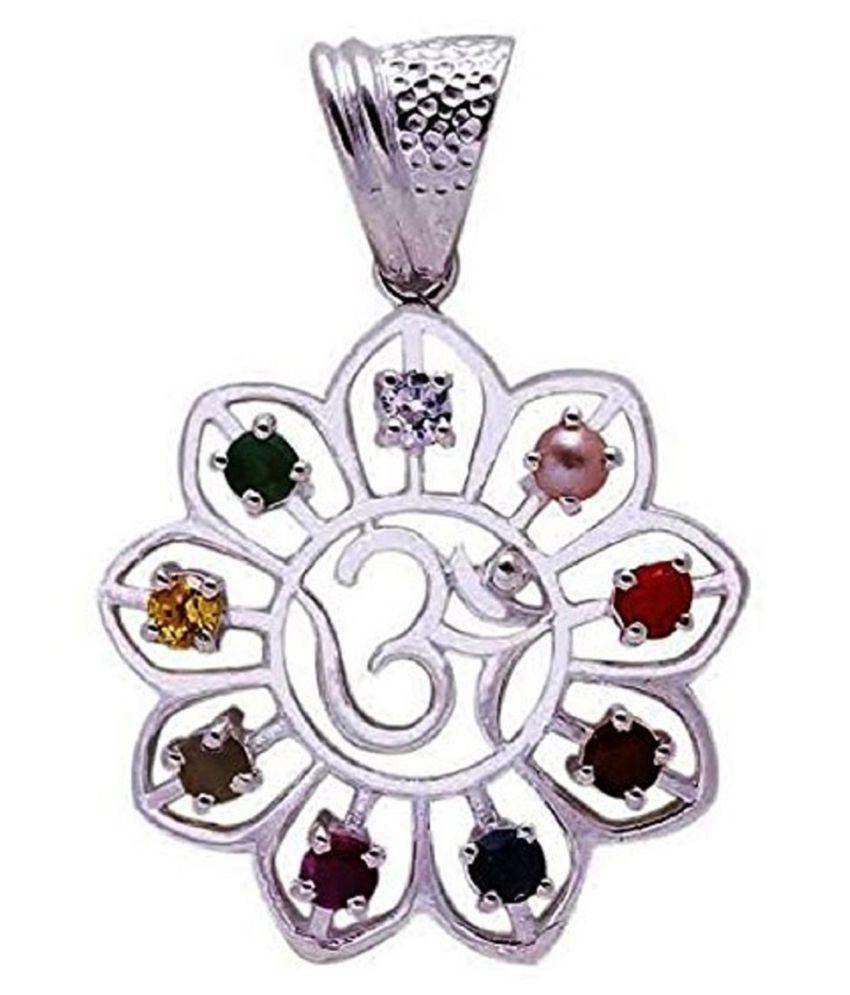 Navratna Silver OM Pendant Original Natural Navratan Silver Plated Locket Pendant Nine Gemstone Pendant Navgrah Pendant Good Luck Symbol Love Gift Silver Pendant for unisex