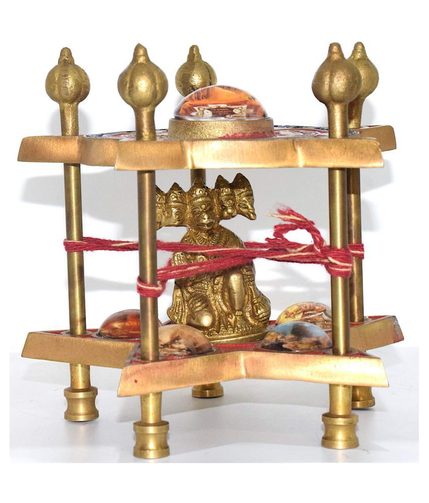 RUDRADIVINE Ashtadhatu Sri Panchmukhi Hanuman Yantra Chowki with Panchmukhi Hanuman Idol -960 gm