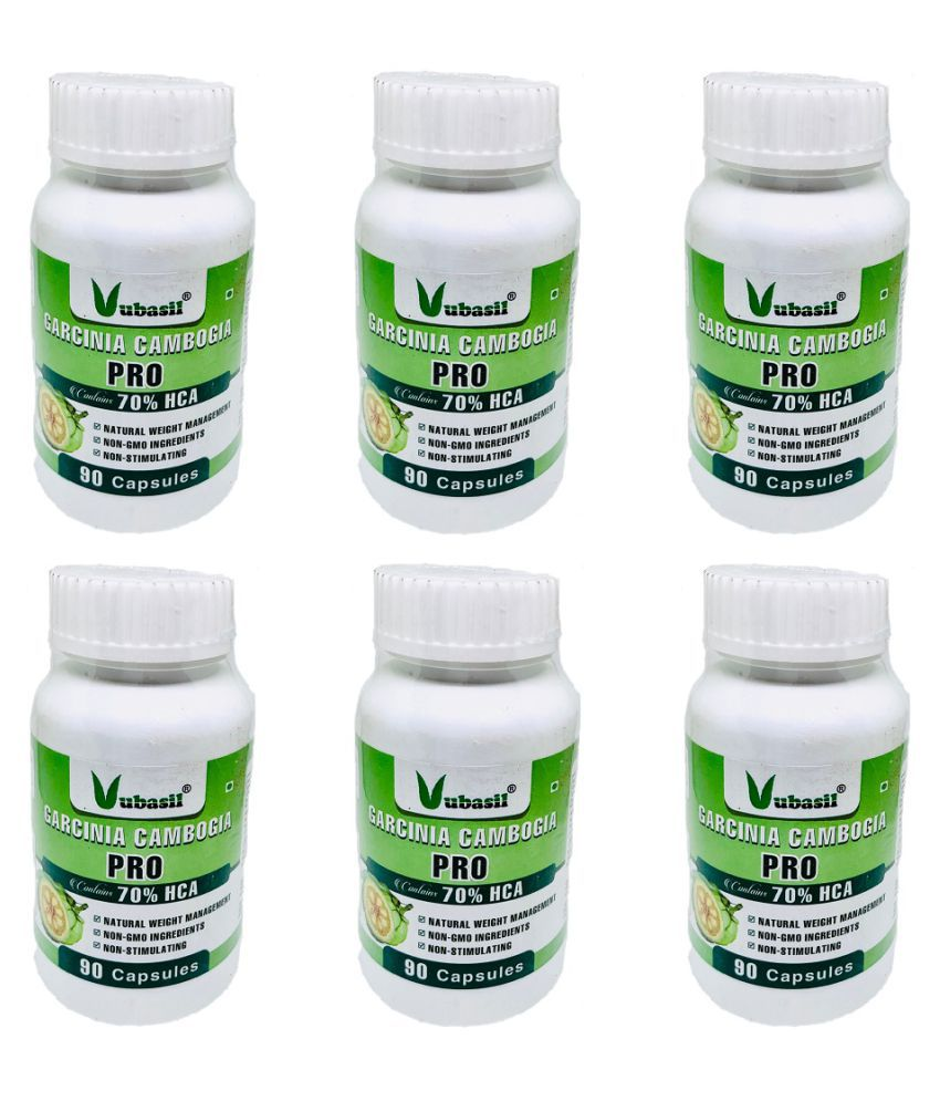 VUBASIL Herbal Garcinia Cambogia Fat Weight Loss Capsule 540 no.s Pack Of 6