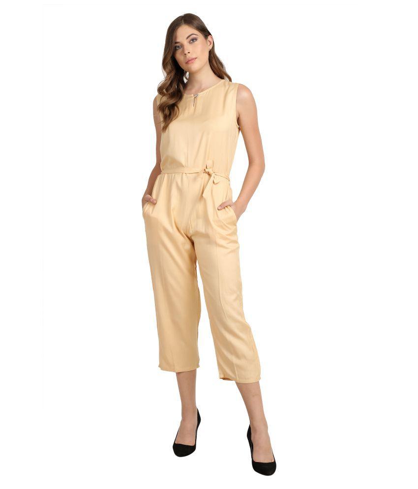 Curlx Fashion Beige Rayon Jumpsuit